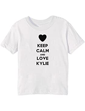 Keep Calm And Love Kylie Bambini Unisex Ragazzi Ragazze T-Shirt Maglietta Bianco Maniche Corte Tutti Dimensioni...