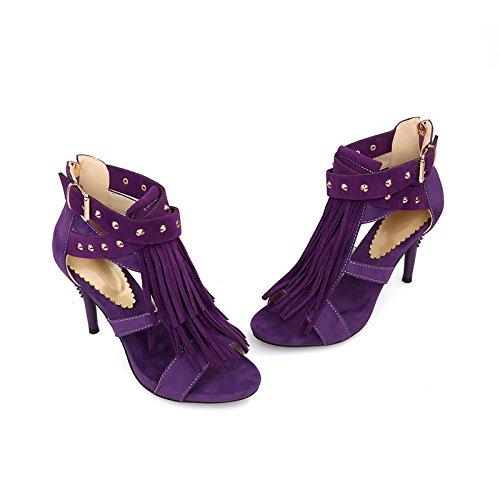 Frauen Damen Mid Low High Heel Riemchen Niet Quaste Party Hochzeit Prom Sandalen Schuhe Größe,Purple-EU38=240 Prom Fashion