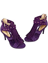 ALBOC Moda Nuevas Mujeres Borlas De Las Señoras Del Tacón Alto Del Estilete Floral Hebilla Peep Toe Correa Para El Tobillo Zapatos De Tamaño