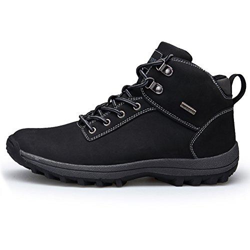 Fexkean Hombres Zapatillas de senderismo Trekking y Senderismo Zapatos para Correr en Montaña y Asfalto Aire Libre y Deportes Boats Sneakers High Top 38-46(Black45)