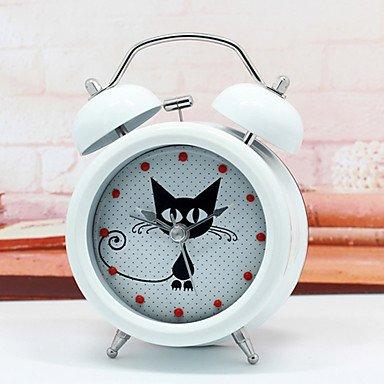 SUNNY KEY-Clock@Modern Design Cute & Mysterious Cat Alarm Clock Metal Twin Ring Clock Unique Gift Quartz Beside Table Clock Unique Gift , black
