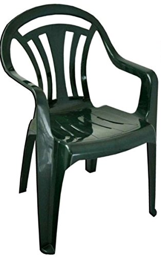 PLASTIC CHAIR LOW BACK PLASTIC PATIO GARDEN CHAIR PACK OF 4 GREEN Test