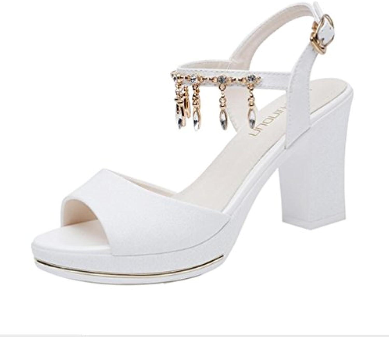 Sandalias de Mujer Romanas de Verano Nuevo Tacón Grueso Tacones Altos Zapatos de Mujer de Fondo Grueso Sandalias...
