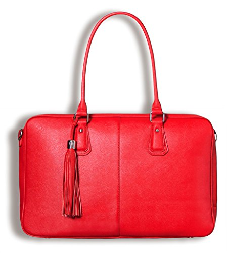 BfB Laptop Tote Bag - Handgefertigte Laptoptasche für Frauen - 2 gepolsterte Hüllen – Ideale Arbeits Computertasche - Rot - by My Best Friend Is A Bag (Handgefertigte Rote Tasche)