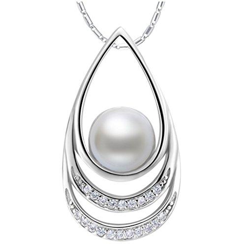 Aienid Damen-Halskette Mit Anhänger Vergoldet Ketten Anhänger Zirkonia Silber Perlen-Kette