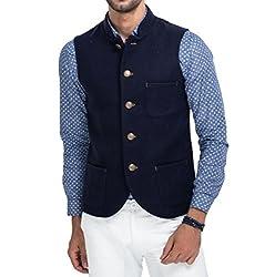 Mr Buttons Mens Slim Fit Nehru Jacket NJA021-L_Blue_Large