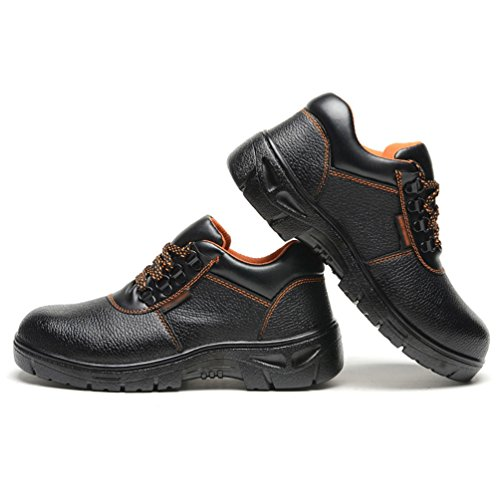 NiSeng Homme Chaussures À Embout en Acier Respirant Boots de Sécurité Chaussure de Travail Boots de Sécurité Noir