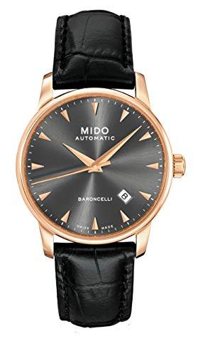 Mido Baroncelli Homme 38mm Bracelet Cuir Noir Saphire Automatique Analogique Montre M8600.3.13.4