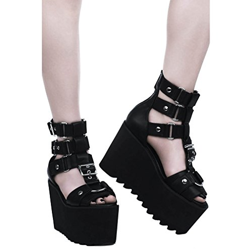 Killstar - Sandalias de Vestir de Sintético para Mujer Negro Negro One Size, Color Negro, Talla 36 EU