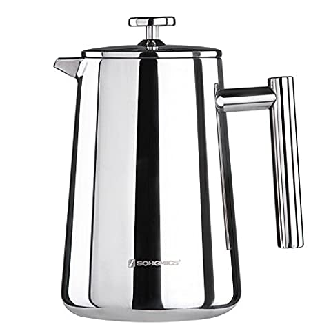 Songmics Stainless Steel Cafetiere French Press Double Walled Detachable with 2 Filters 1000 ml Silver