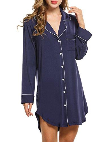 Avidlove Damen Viktorianisch Nachthemd T-shirt Luxus Nachtwäsche- Gr. L, Langarm 1: Marineblau