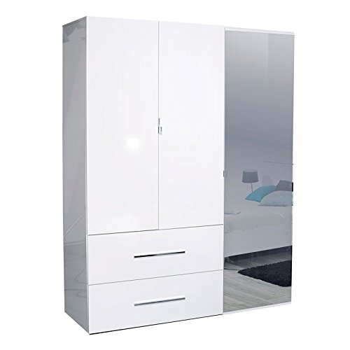 Tousmesmeubles Armoire 3 Portes 2 tiroirs Laqué Blanc - UNO - L 162 x l 54 x H 208 - Neuf