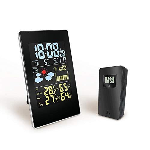Arvin87Lyly Wettervorhersage Uhr Multifunktions Wetterstation mit Vorhersage,Multifunktions Farbbildschirm Alarm Drinnen und draußen Temperatur Luftfeuchtigkeit Wetteruhr