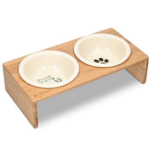Navaris 2X Futternapf Katze mit Bambus Halter - Futterstation 2X Keramiknapf für Katzen Hunde - Keramik Fressnapf Set Futterbar mit Holz Halterung -