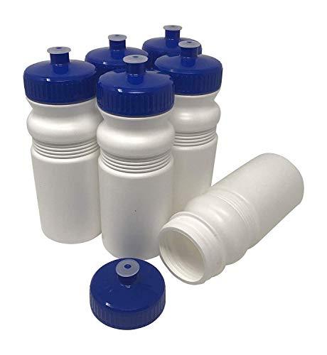 570 ml, BPA-frei, HDPE-Kunststoff, Bulk, 6er-Pack (20 Unzen, weiße Flasche, 63 mm Blauer Deckel) ()
