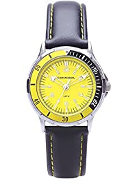 Cannibal Unisex Quartz Watch with Yellow Dial Analogue Display and Black Plastic or Pu Strap CJ220-18