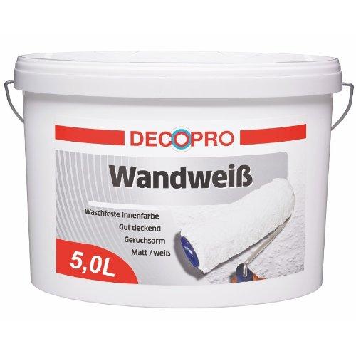 DecoPro Wandfarbe 5L (ca.30m²) Wandweiß matt weiß Innenfarbe waschfest