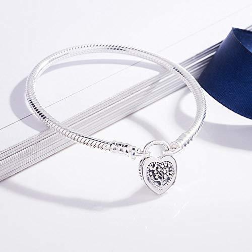 wanghuiminwje Sterling Silber Schloss Liebe Schnalle Armband einstellbare Länge: 7,1 + 1,37 Zoll -