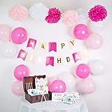 infinimo Geburtstagsdeko Rosa / Pink + Weiß ✮ Happy Birthday Partydeko mit vorgefädelter Girlande + Luftballons + Pompoms ✮ für Geburtstag und Party