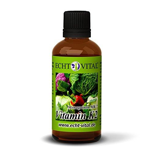 ECHT VITAL VITAMIN K2-1 Flasche mit 50 ml – 1250 vegane Tropfen Vitamin K2 (MK-7 Menaquinon) – 20 μg/Tropfen – besteht zu 99,5% aus aktiven All-Trans Isomeren