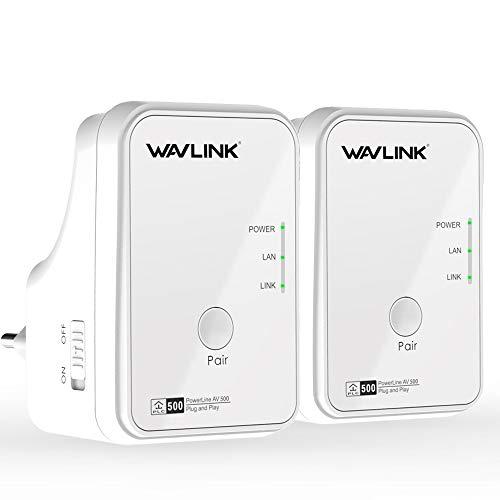 WAVLINK AV500 Powerlan Adapter (500 Mbit/s, Fast-Ethernet-LAN, kompatibel zu Allen gängigen Powerline Adaptern)