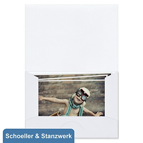 fotohuellen 13x18 100 Stück Bildmappen/Fotomappen für 13x18 cm Fotos - weiß matt - Kwick - Schoeller & Stanzwerk