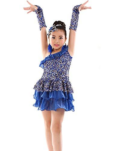 Astage Mädchen Pailletten Party Latin Kleid Kinder Active Dance Kostüm Royal (Tanz Ballsaal Design Kostüm)