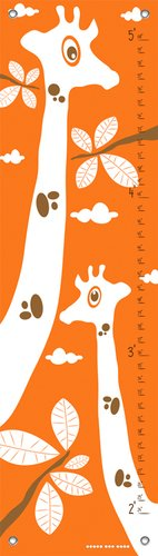 Oopsy Daisy Googly Eyed Giraffe Orange by Finny and Zook Growth Charts, 12 by 42-Inch