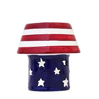 American Flag Hand-Painted Caramic Tart Burner 4-3/8