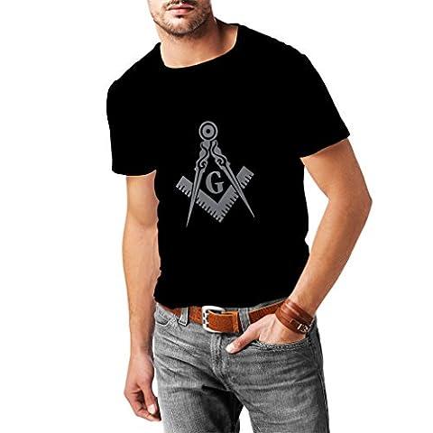 T-shirt pour hommes la symbolique maconnique signes, les outils Francs-maçons boussole carré (Medium Noir Argent)
