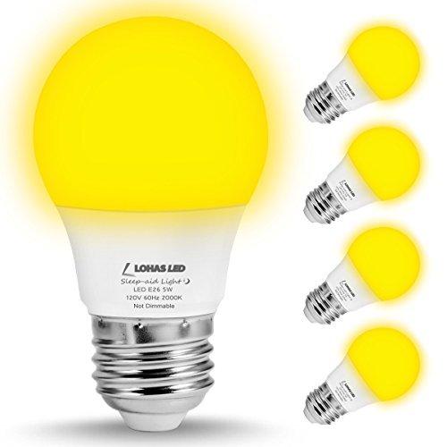 LOHAS A15LED Leuchtmittel, 5W LED gelb Bug Leuchtmittel, Entspricht 40Watt, E26mittel Schraube Base, 450lm Edison LED Glühbirne, LED Lampen not-dimmable mit Home Beleuchtung Deko (4Stück) -