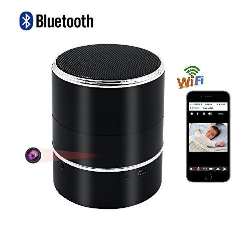 Bluetooth Oculta Cámara , UYIKOO HD 1080P WIFI Cámara Oculta Altavoz Inalámbrico Bluetooth Mini Cámara Espía con Detección de Movimiento y Giro a La Izquierda / Derecha 180° Soporte Android / IOS APP Remote View