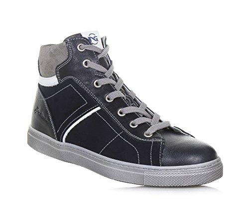 NERO GIARDINI - Sneaker bleue à lacets en cuir, made in Italy, fermeture éclair latérale, Garçon, Garçons