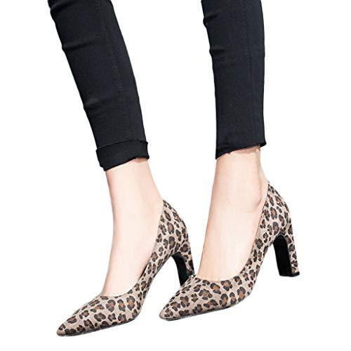 TianWlio Ballerinas Damen Wildleder Spitze Zehe Atmungsaktiv Schlüpfen Leopard Drucken Beiläufig Job Einzelne Schuhe Khaki 40 Leopard Satin Pumps
