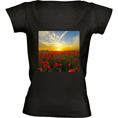 camiseta-negro-con-cuello-redondo-para-mujeres-tamano-m-campo-de-amapolas-puesta-de-sol-horizonte-by