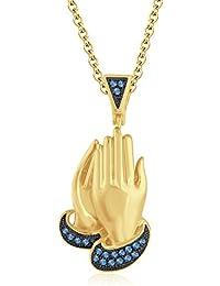 """Silvernshine 1.30 Ct Round Aquamarine Praying Hand Pendant 18"""" Chain In 14K Yellow Gold Fn"""