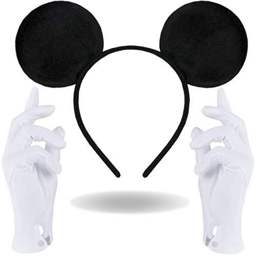 Haarreifen in schwarz mit Maus Ohren Mouse + weiße Handschuhe für Erwachsene und Kinder (Maus Ohren Schwarz + weiße Handschuhe) (Weiße Handschuhe Kaufen Sie)
