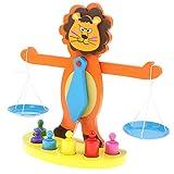 Homyl Holzwaage Waage Spielzeug Balancierspiel Mathematik Spielzeug mit Löwe Design