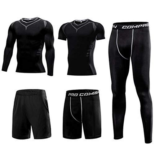 XIAOYUN 5Pcs / Set Männer Anzug Gym Fitness Compression Sport-Klage-Kleidung Laufen Jogging Sportbekleidung Übungs-Trainings-Strumpfhosen,D,M