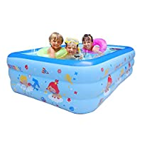 WEY&FLY Family Swim Center Clearview Aquarium Inflatable Pool Family Inflatable Paddling Pool Family Fun Lounge Pool, for Ages 3+ (Blue, 2.1M)