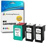 Printing Pleasure 3 Druckerpatronen für HP Deskjet 5740, 5745, 5940, 5950, 6520, 6540, 6540d, 6620, 6840, 6940, 6980, 9800, 9800d / Officejet 7313, 7410, 7413, Pro K7100, Pro K7103, Pro K7108 / Photosmart 2570, 2573, 2575, 2575a, 2575v, 2575xi, 2605, 2608, 2610, 2610v, 2610xi, 2613, 2615, 2710, 2713, D5160, 8050, 8450, 8450gp, 8750, 8750gp, Pro B8350 | kompatibel zu HP 339 (C8767EE) & HP 344 (C9363EE)