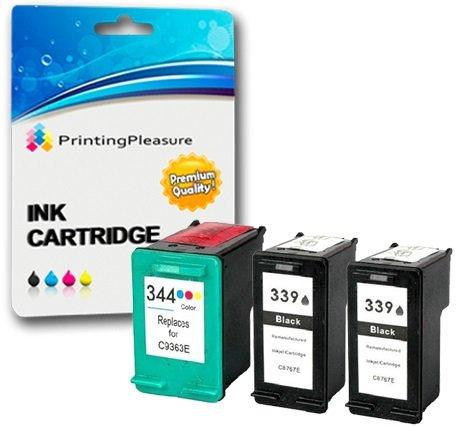 Printing pleasure 3 cartucce d'inchiostro compatibili per hp deskjet 5740, 5745, 5940, 5950, 6520, 6540, 6540d, 6620, 6840, 6940, 6980, 9800, 9800d / officejet 7313, 7410, 7413, pro k7100, pro k7103, pro k7108 / photosmart 2570, 2573, 2575, 2575a, 2575v, 2575xi, 2605, 2608, 2610, 2610v, 2610xi, 2613, 2615, 2710, 2713, d5160, 8050, 8450, 8450gp, 8750, 8750gp, pro b8350 / sostituzione per hp 339 (c8767ee) & hp 344 (c9363ee)