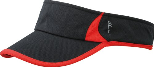 Myrtle Beach Uni Cap Running Sunvisor, black/red, One size, MB6545 blrd
