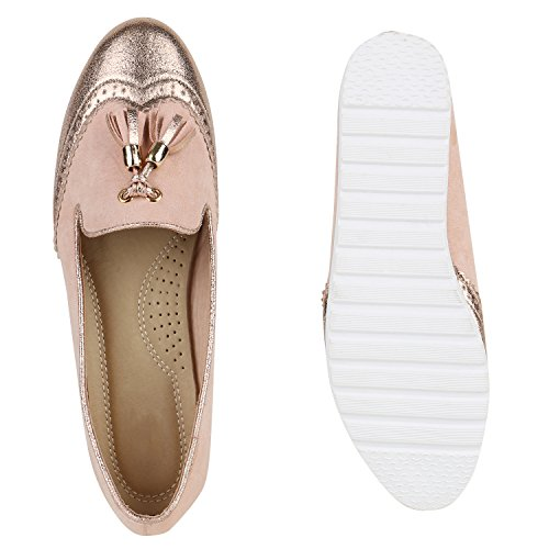 Damen Slipper Loafers Schleifen Glitzer Flats Profilsohle Schuhe Rosa Quasten