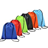 6 Pack Mochila Saco Bolsas de Cuerdas de Deporte Coolzon Bolso Gimnasio de Nylon Gymsack Drawstring Bags Seca del Lazo Ocio de Viaje de Entrenamiento de Natación Playa Escuela