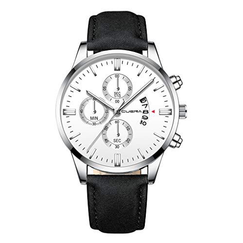 Quartz Uhren für Herren, Skxinn Herrenuhren,Männer Armbanduhr Analog Business Minimalistische Quartz Armbanduhren mit Kunstlederband, Ausverkauf(K,One Size)
