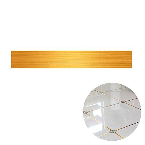 AOLVO Boden Fugen Fliesen Aufkleber Tape Strip Golden Line Bordüre Aufkleber-Gold/Silber Folie Selbstklebend Wand Boden Decor, Bright Gold, 2cm*5000cm -