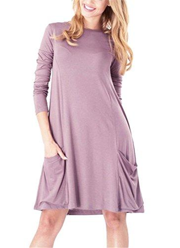 Brinny Classique élégante Femme lâche Shirt Robe en Coton Col Rond manches longues Tops Blouse Chemise Grande Taille 7 Couleur 8 Taille: S-5XL Violet Clair