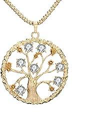 958875f925b8 Your boy-HT Vintage Or Arbre De Vie Pendentif Collier Grand Cristal Rose Or  Arbre