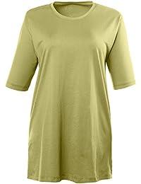 Ulla Popken Femme Grandes tailles T-shirt basique confortable et Sexy Femmes Motif uni Top Manches courtes Été Taille 44 à 70 486910